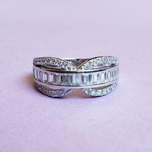 925 Silver Crystal & Diamond Ring